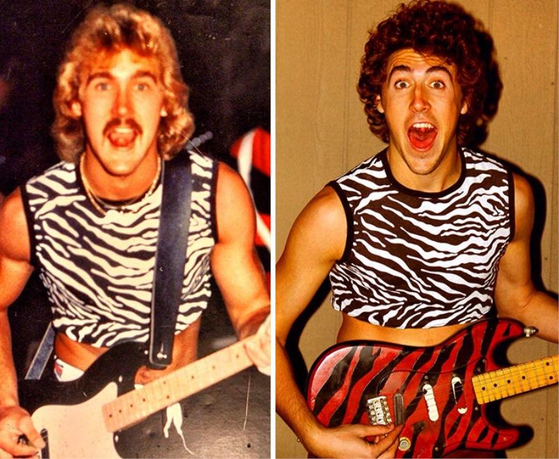 Sin in njegov oče pred 30 leti - v isti majici, z isto kitaro!