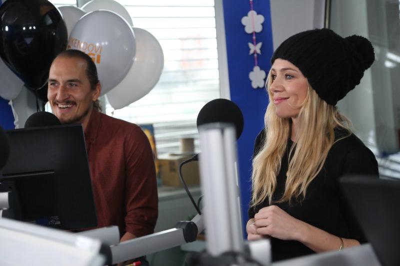 Vid Valič in Katarina Čas v studiu Radia 1