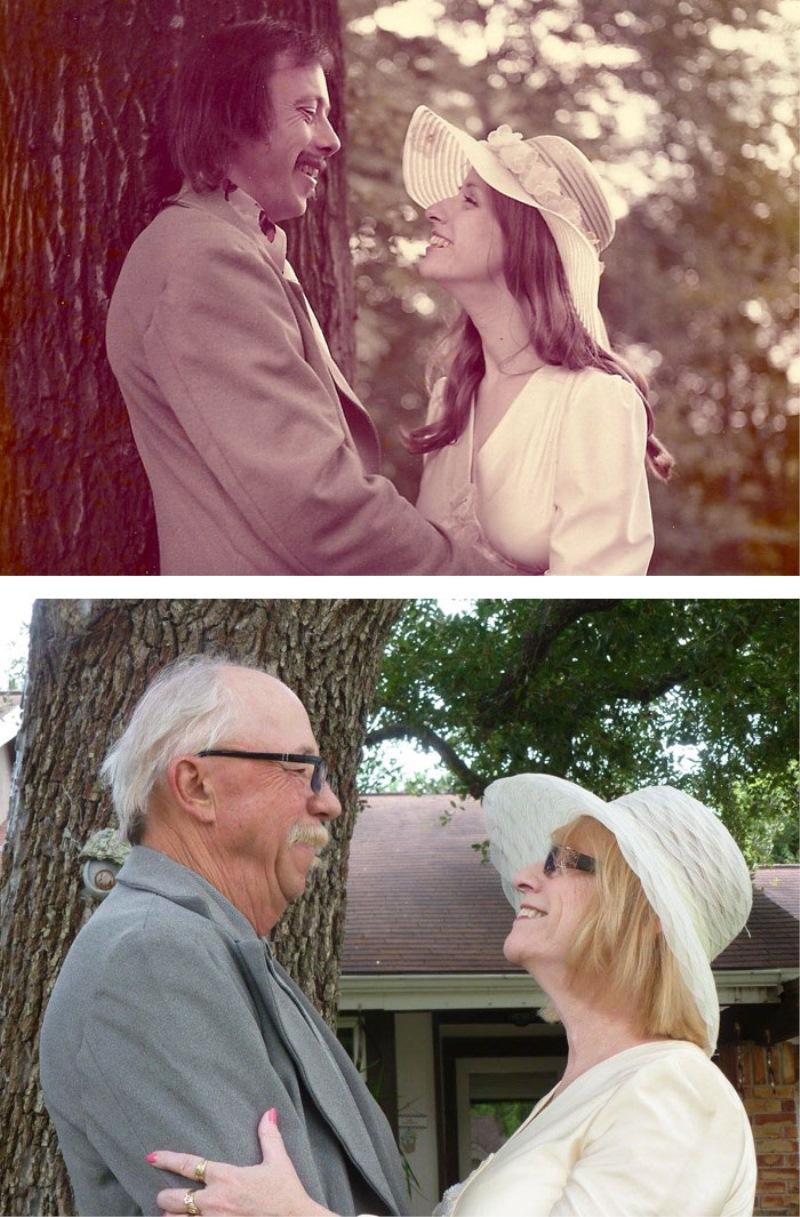 #6 Par je proslavil svojo 40. obletnico poroke tako, da sta upodobila svojo poročno fotko iz leta 1975.