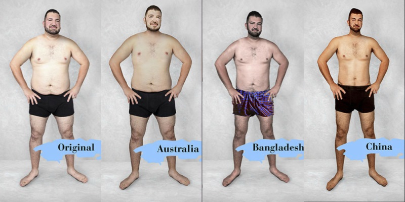Primerjava originalne fotografije z avstralskim, bangladeškim in kitajskim lepotnim idealom.